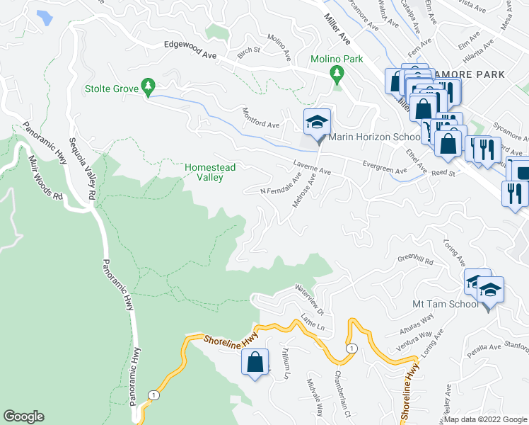 map of restaurants, bars, coffee shops, grocery stores, and more near 14 Madrone Park Circle in Mill Valley