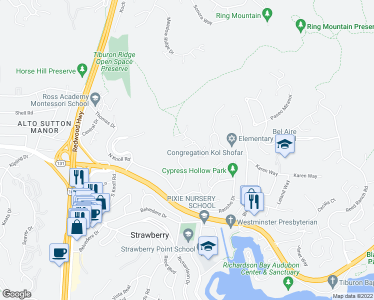map of restaurants, bars, coffee shops, grocery stores, and more near 30 Sky Road in Mill Valley