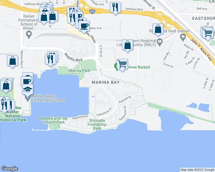 map of restaurants, bars, coffee shops, grocery stores, and more near 248 Marina Lakes Drive in Richmond