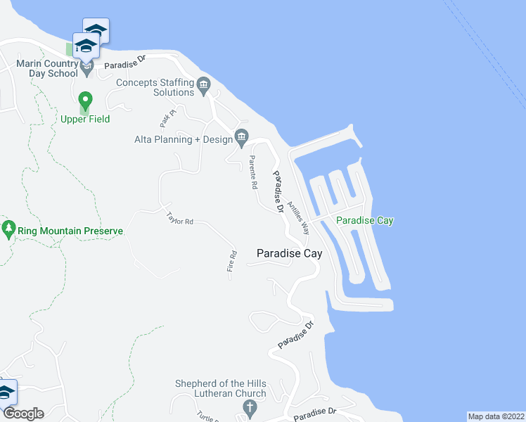 map of restaurants, bars, coffee shops, grocery stores, and more near 1 Antonette Drive in Tiburon