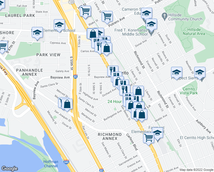 map of restaurants, bars, coffee shops, grocery stores, and more near Wenk Ave in Richmond