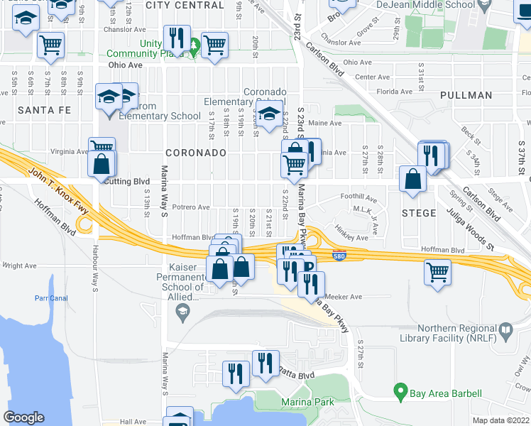 map of restaurants, bars, coffee shops, grocery stores, and more near 650 South 20th Street in Richmond