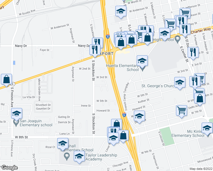 map of restaurants, bars, coffee shops, grocery stores, and more near Herman Ct in Stockton