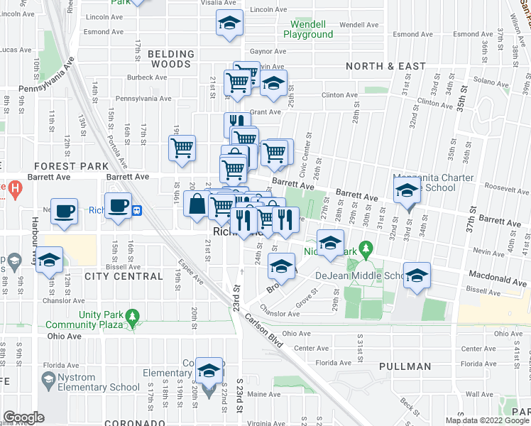 map of restaurants, bars, coffee shops, grocery stores, and more near 330 24th St in Richmond