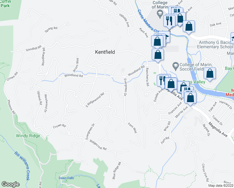 map of restaurants, bars, coffee shops, grocery stores, and more near 9 Madrone Way in Kentfield