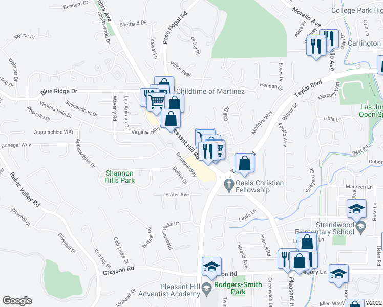 map of restaurants, bars, coffee shops, grocery stores, and more near 2701-2723 Pleasant Hill Road in Pleasant Hill