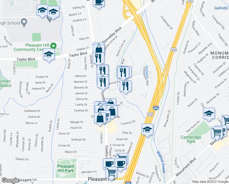 map of restaurants, bars, coffee shops, grocery stores, and more near Dexter Dr in Pleasant Hill