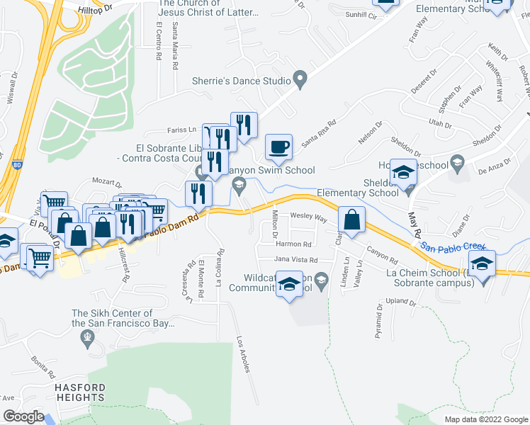 map of restaurants, bars, coffee shops, grocery stores, and more near 4242 San Pablo Dam Rd