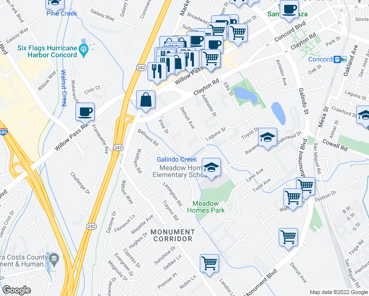 map of restaurants, bars, coffee shops, grocery stores, and more near 1500 Pine Street in Concord