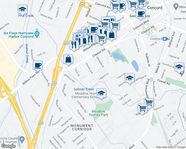 map of restaurants, bars, coffee shops, grocery stores, and more near 1595 Detroit Avenue in Concord