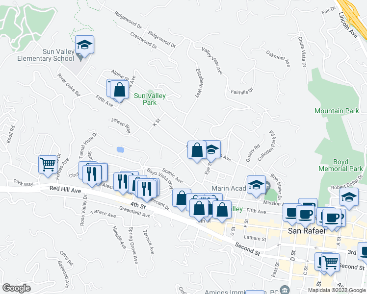 map of restaurants, bars, coffee shops, grocery stores, and more near 201 Center Street in San Rafael