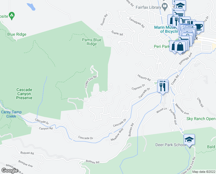 map of restaurants, bars, coffee shops, grocery stores, and more near 200 Toyon Dr in Fairfax
