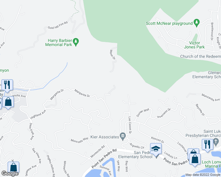 map of restaurants, bars, coffee shops, grocery stores, and more near 300 Margarita Drive in San Rafael