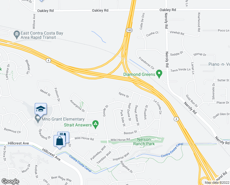 map of restaurants, bars, coffee shops, grocery stores, and more near 4458 Spire St in Antioch