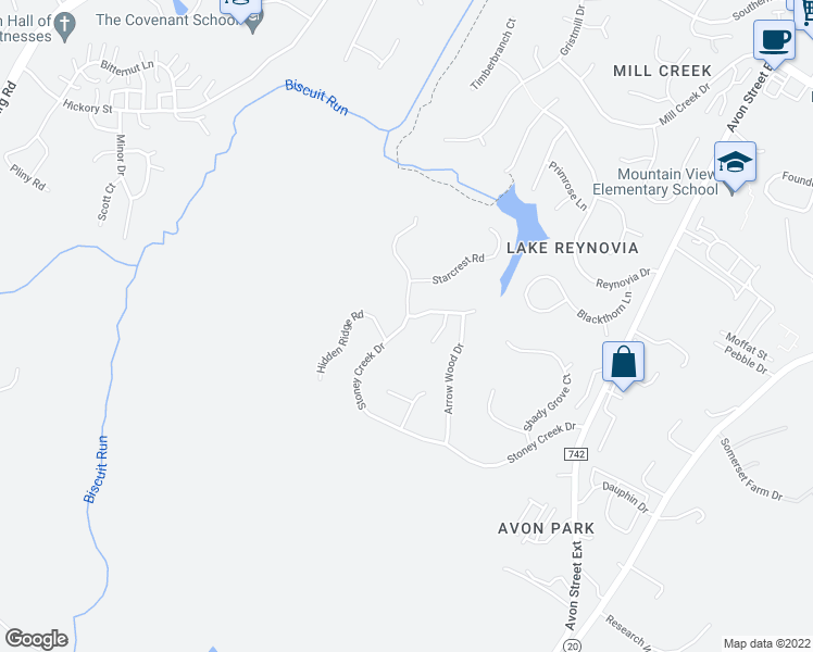map of restaurants, bars, coffee shops, grocery stores, and more near 1608 Stoney Creek Dr in Charlottesville