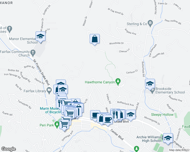 map of restaurants, bars, coffee shops, grocery stores, and more near 20 Upper Ridgeway Avenue in Fairfax