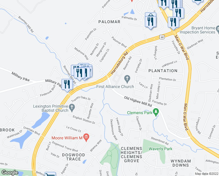 map of restaurants, bars, coffee shops, grocery stores, and more near 2220 Old Higbee Mill Road in Lexington