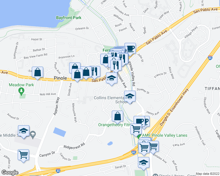 map of restaurants, bars, coffee shops, grocery stores, and more near 1026 Francisca Ct in Pinole
