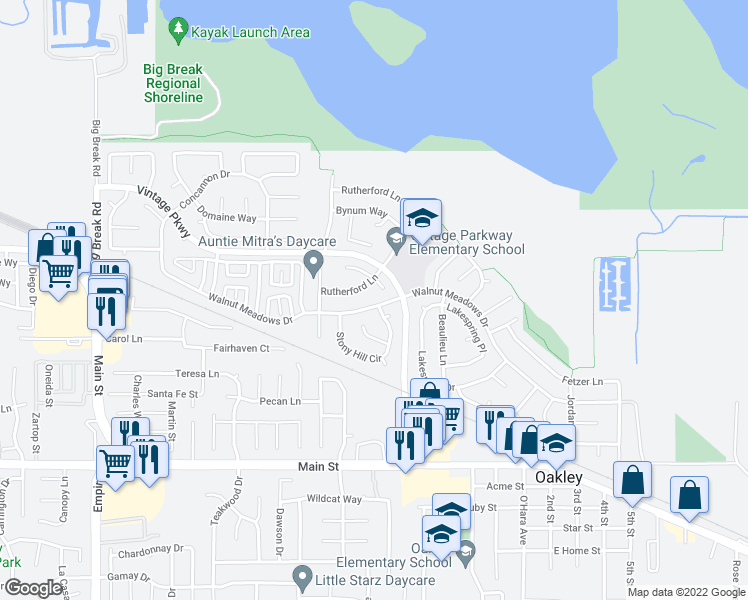 map of restaurants, bars, coffee shops, grocery stores, and more near 1400 Walnut Meadows Dr in Oakley