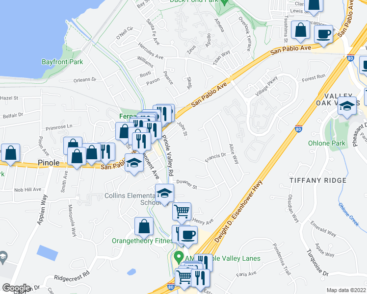 map of restaurants, bars, coffee shops, grocery stores, and more near 800 John Street in Pinole