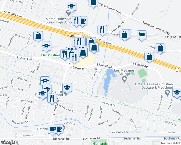 map of restaurants, bars, coffee shops, grocery stores, and more near 19 Pluto Ct in Pittsburg