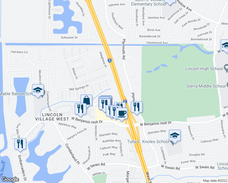map of restaurants, bars, coffee shops, grocery stores, and more near 3280 Blue Ridge Cir in Stockton