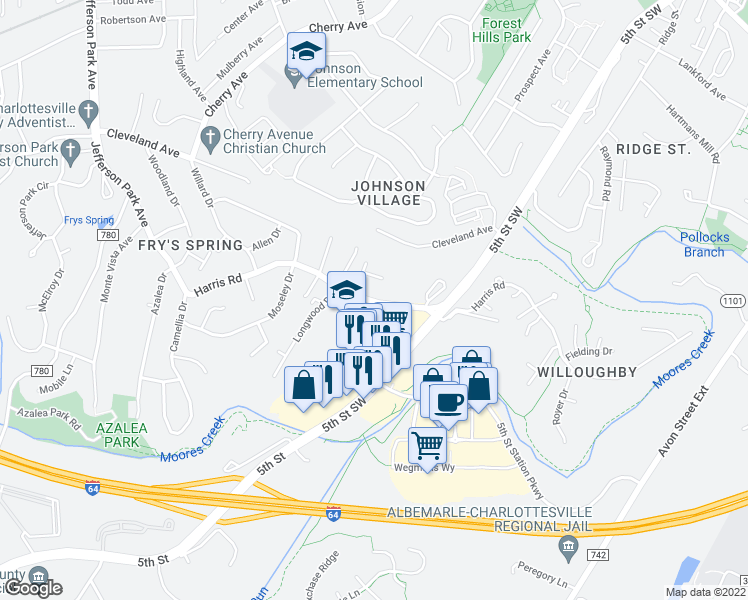 map of restaurants, bars, coffee shops, grocery stores, and more near 500-524 Harris Road in Charlottesville