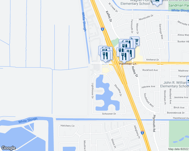 map of restaurants, bars, coffee shops, grocery stores, and more near 7536 Lighthouse Drive in Stockton