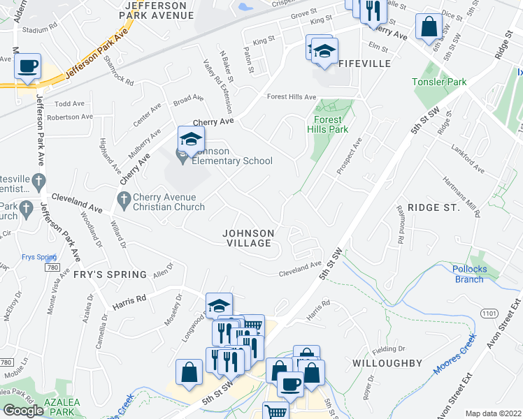 map of restaurants, bars, coffee shops, grocery stores, and more near 102 Antoinette Ct in Charlottesville