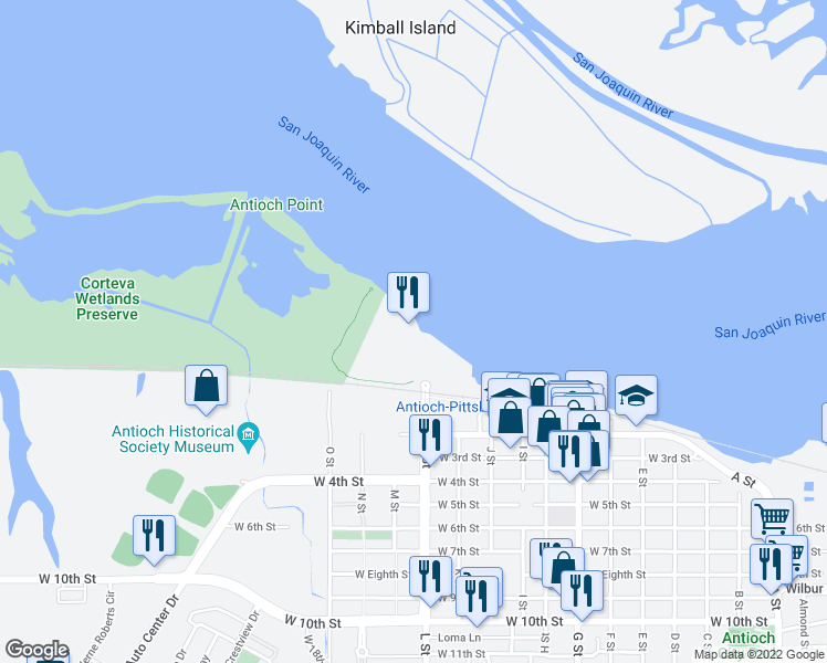 map of restaurants, bars, coffee shops, grocery stores, and more near Marina Plaza in Antioch