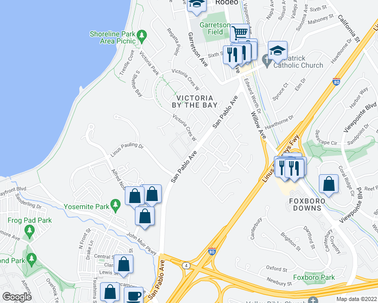 map of restaurants, bars, coffee shops, grocery stores, and more near Victoria Crescent West in Hercules