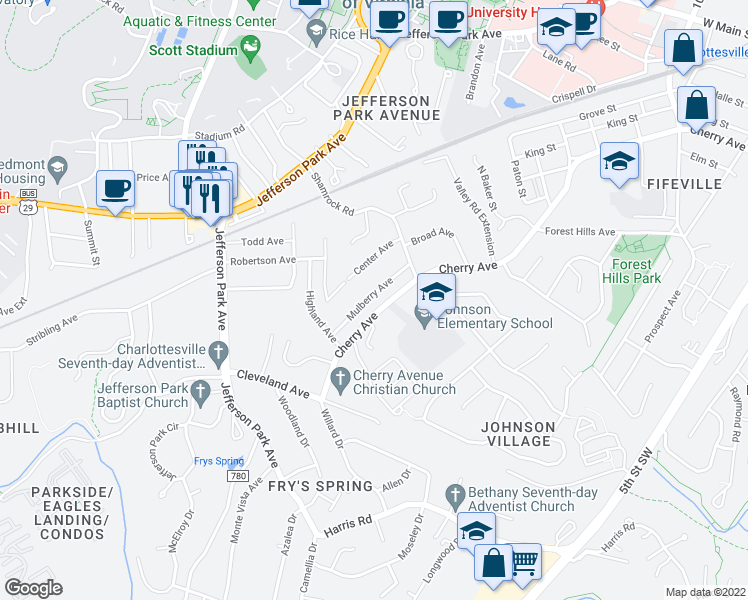 map of restaurants, bars, coffee shops, grocery stores, and more near 1622 Mulberry Ave in Charlottesville