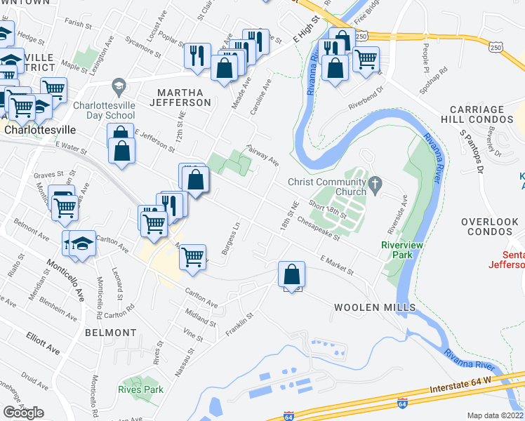 map of restaurants, bars, coffee shops, grocery stores, and more near 208 Fairway Ave in Charlottesville