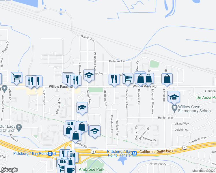 map of restaurants, bars, coffee shops, grocery stores, and more near 38 Sapone Ln in Bay Point