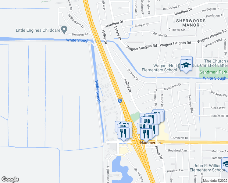 map of restaurants, bars, coffee shops, grocery stores, and more near 8533-8539 Mariners Drive in Stockton