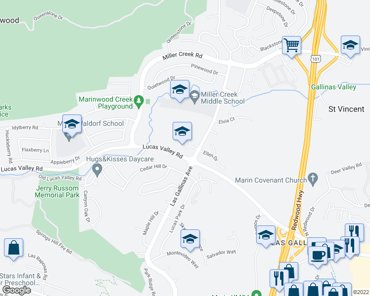 map of restaurants, bars, coffee shops, grocery stores, and more near 398 Ellen Court in San Rafael