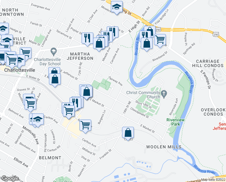 map of restaurants, bars, coffee shops, grocery stores, and more near 102 Chisholm Place in Charlottesville