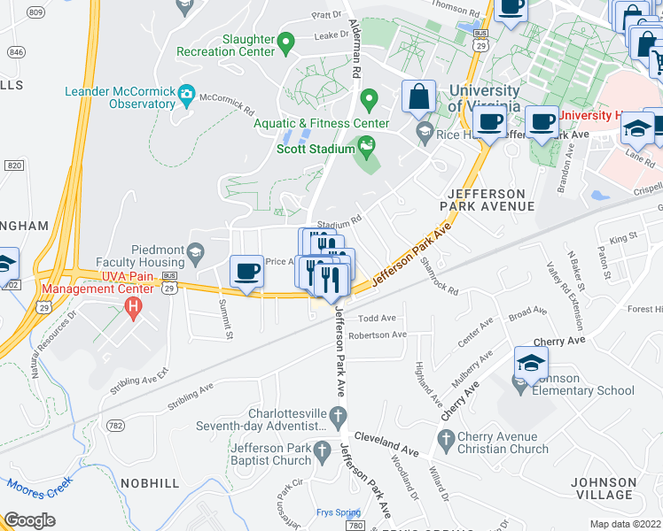 map of restaurants, bars, coffee shops, grocery stores, and more near 109 Clarke Court in Charlottesville