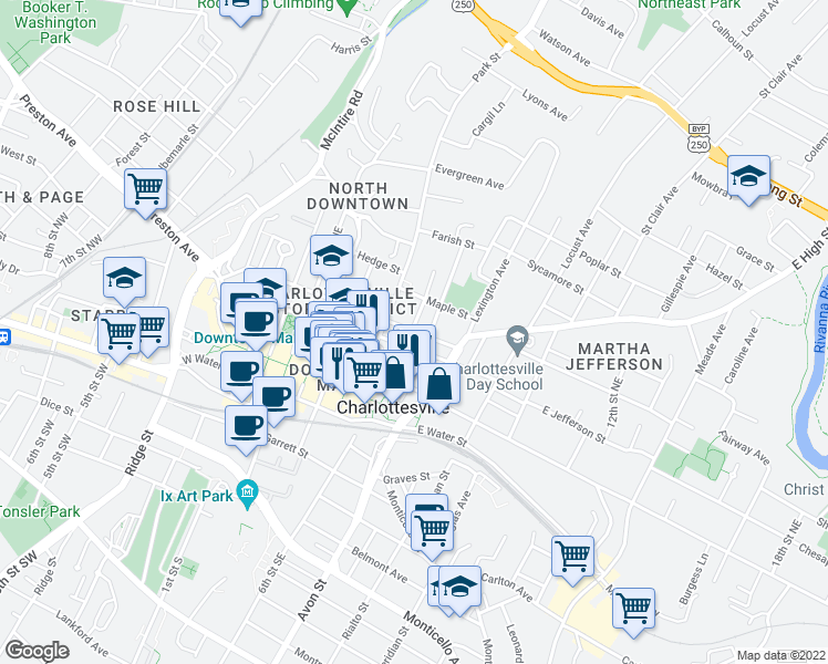 map of restaurants, bars, coffee shops, grocery stores, and more near 300-398 8th Street Northeast in Charlottesville