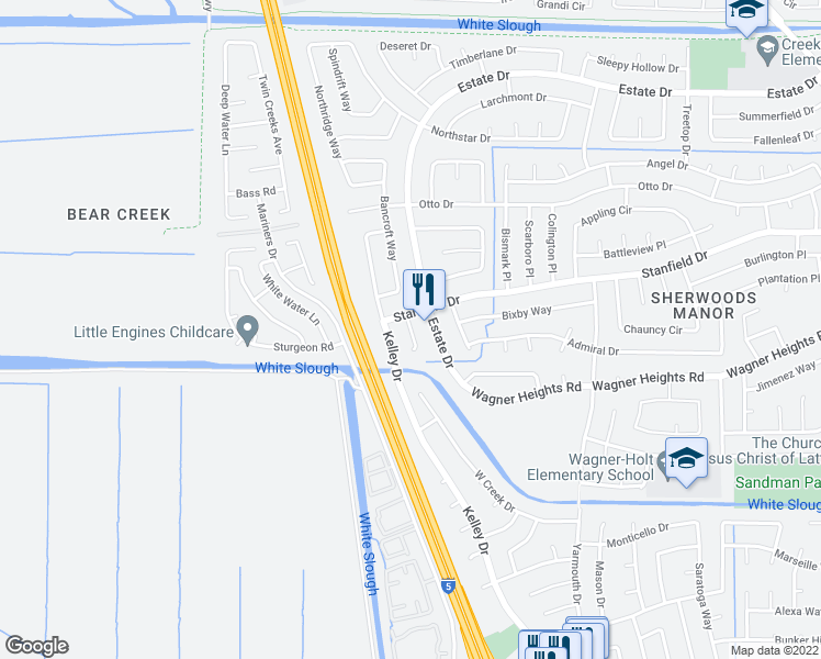 map of restaurants, bars, coffee shops, grocery stores, and more near Darby Court in Stockton
