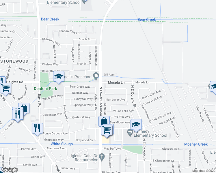map of restaurants, bars, coffee shops, grocery stores, and more near 822 Morada Lane in Stockton