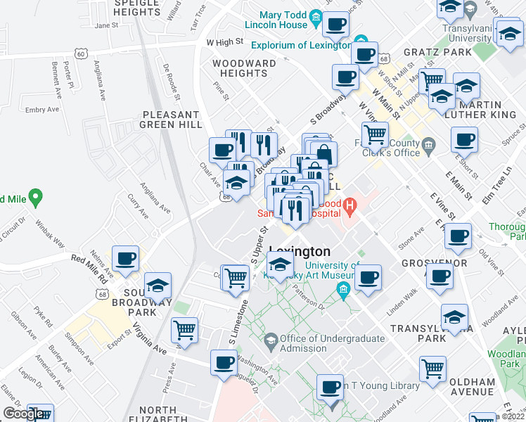 map of restaurants, bars, coffee shops, grocery stores, and more near 614 S Mill St in Lexington