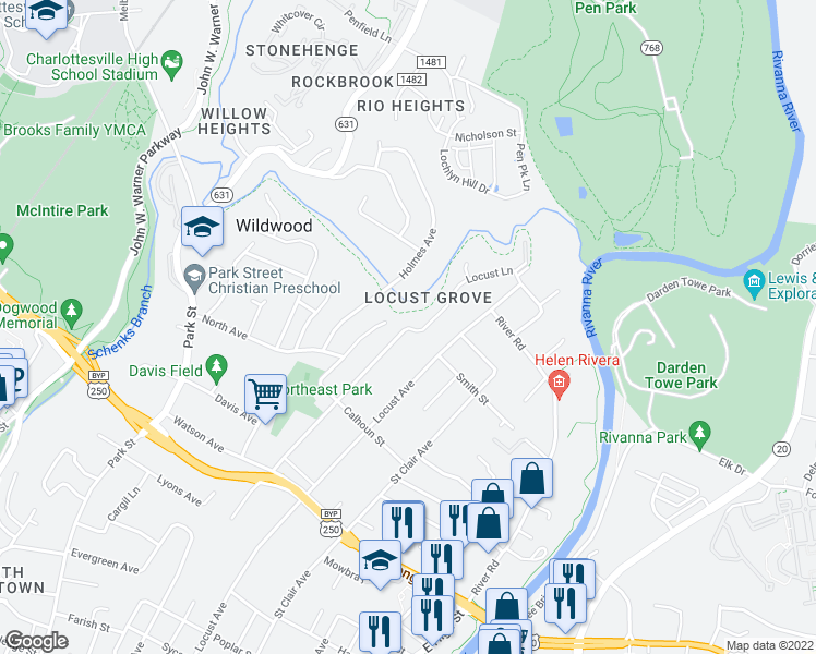 map of restaurants, bars, coffee shops, grocery stores, and more near St Charles Ave & St Charles Ct in Charlottesville