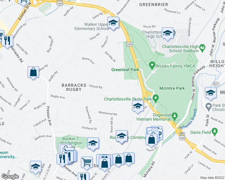 map of restaurants, bars, coffee shops, grocery stores, and more near 1306 Oxford Place in Charlottesville