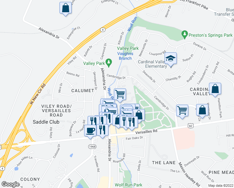 map of restaurants, bars, coffee shops, grocery stores, and more near 2022 Jeffrey Court in Lexington