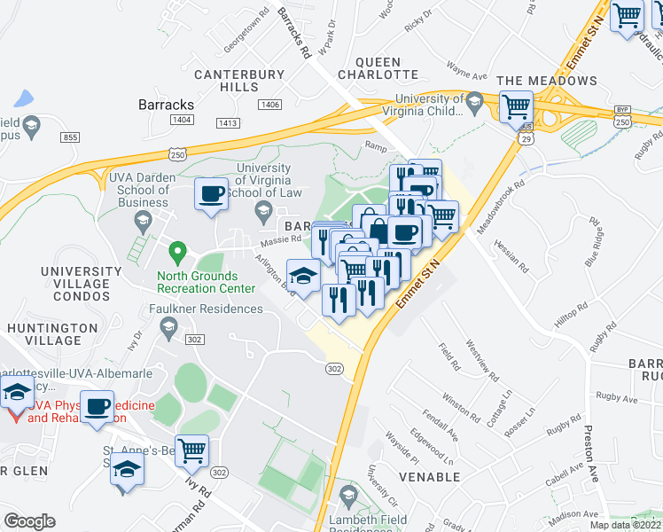 map of restaurants, bars, coffee shops, grocery stores, and more near 1059 Millmont St in Charlottesville