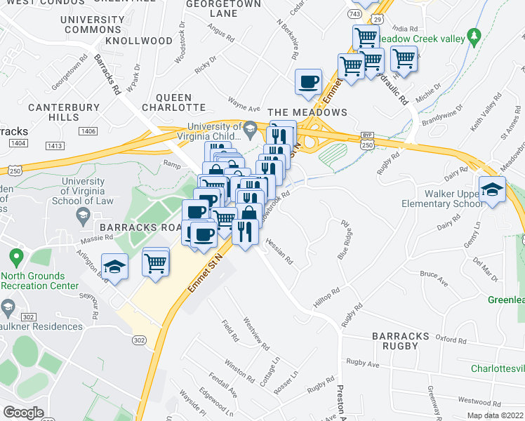 map of restaurants, bars, coffee shops, grocery stores, and more near 1232 Emmet Street North in Charlottesville