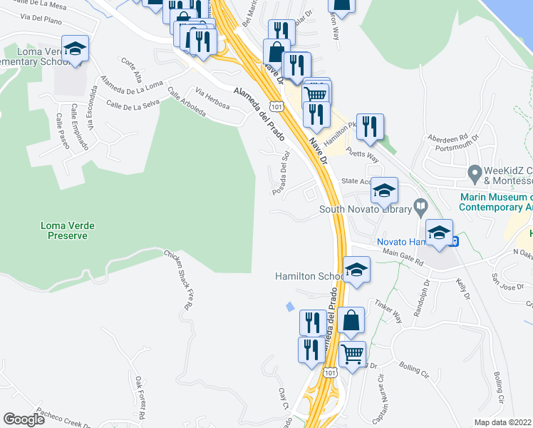 map of restaurants, bars, coffee shops, grocery stores, and more near 130 Cielo Ln in Novato