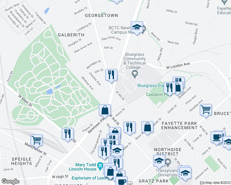 map of restaurants, bars, coffee shops, grocery stores, and more near 358 Newtown Pike in Lexington