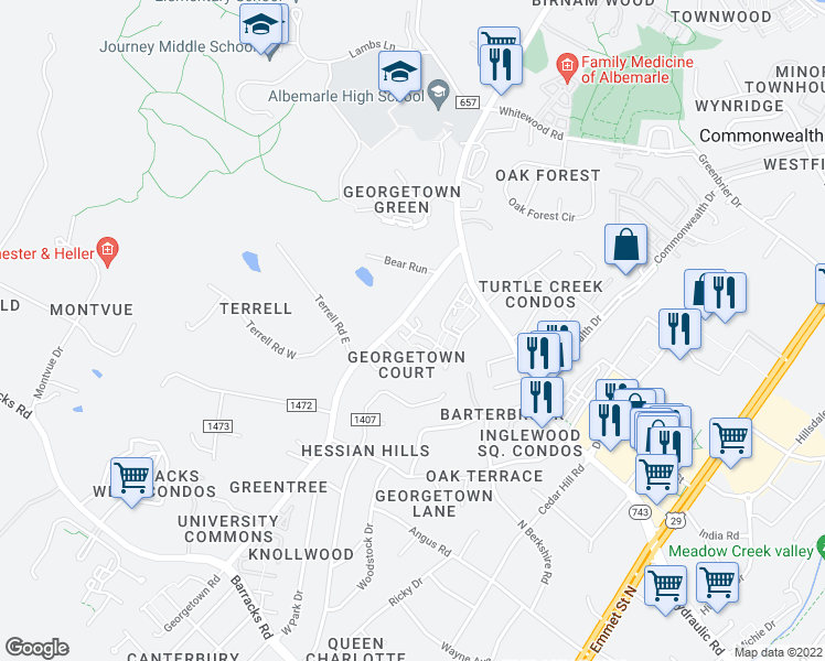 map of restaurants, bars, coffee shops, grocery stores, and more near 81 Barclay Place Court in Charlottesville